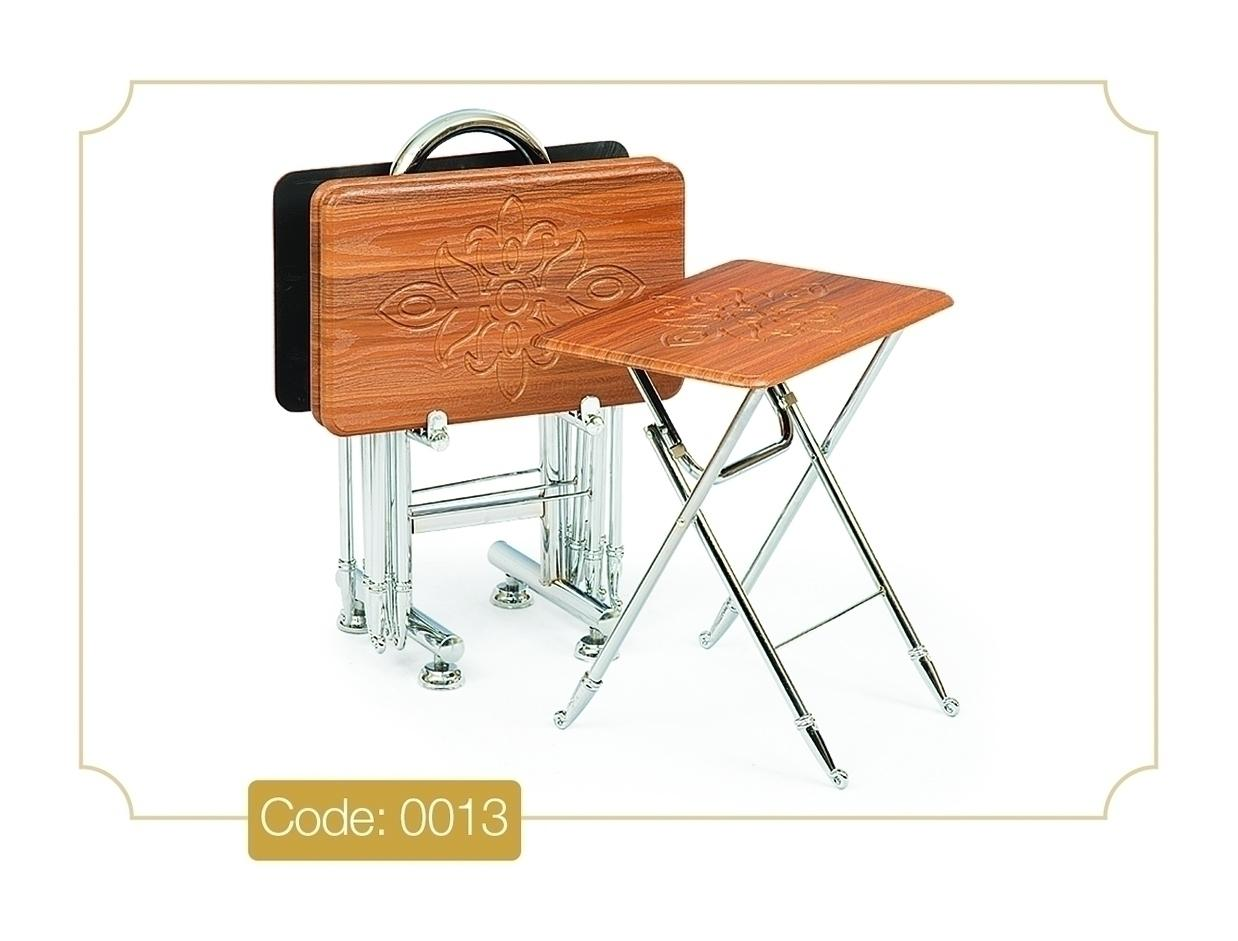 خرید میز عسلی چمدانی مدل 0013 نگین چوب صفحه وکیوم پایه استیل