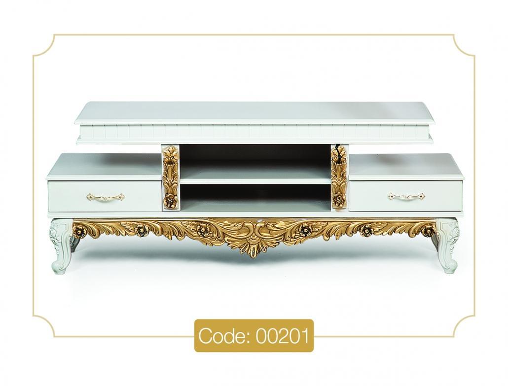 خرید میز تلویزیون مدل 00201 نگین چوب تمام MDF پایه پلیمری