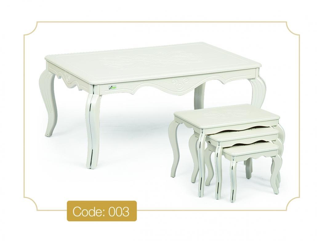 خرید میز جلومبلی سفید مدل 003 نگین چوب تمام MDF و تمام وکیوم