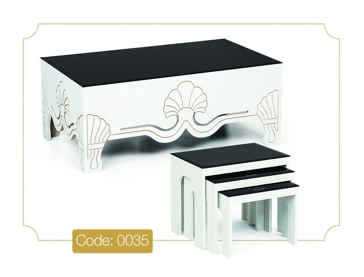 جلو مبلی و عسلی مدل 0035 نگین چوب MDF رنگی و صفحه شیشه سکوریت