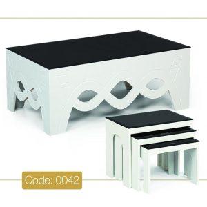 جلو مبلی و عسلی مدل 0042 نگین چوب MDF رنگی و صفحه شیشه سکوریت