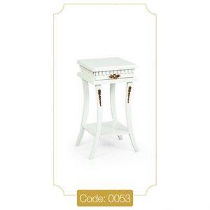 میز گرامافون مربع سفید مدل 0053 صفحه ام دی اف پایه چوب