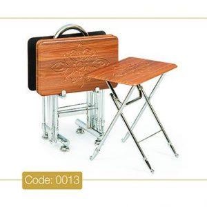 میز عسلی چمدانی تاشو مدل 0013 صفحه وکیوم پایه استیل