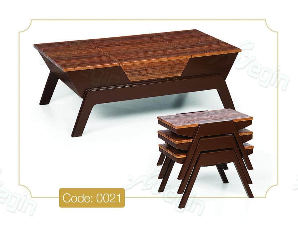 جلو مبلی و عسلی قایقی مدل 0021 صفحه MDF وکیوم پایه چوب رنگی