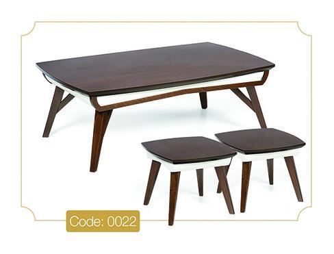 جلو مبلی و عسلی ونوس مدل 0022 صفحه MDF پایه چوب رنگی
