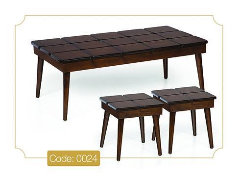 جلو مبلی و عسلی پازل مستطیلی مدل 0024 صفحه MDF پایه چوب رنگی