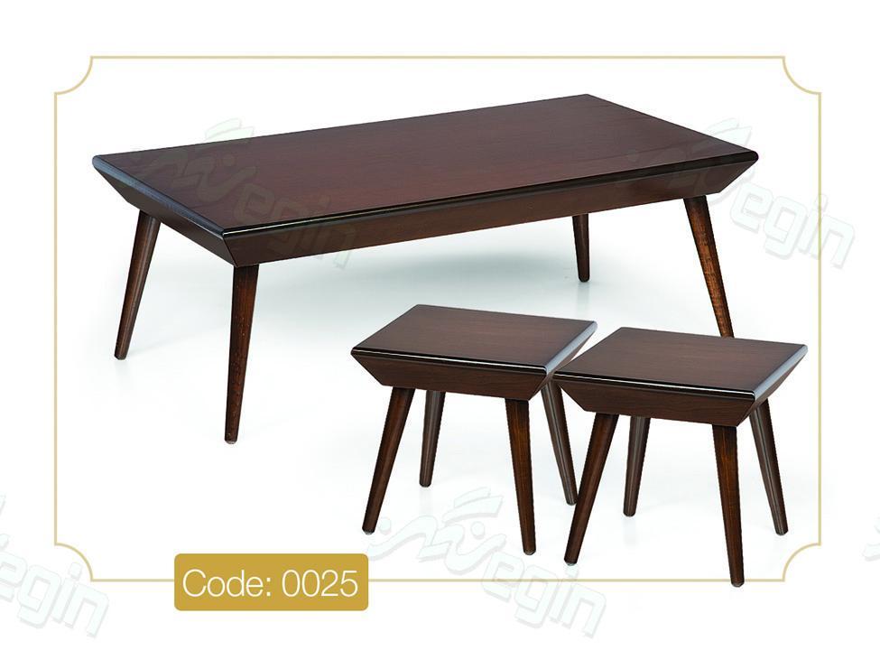 جلو مبلی و عسلی بارکو مستطیلی مدل 0025 صفحه ام دی اف پایه چوب