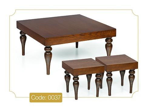 جلو مبلی و عسلی پایه خراطی مدل 0037 صفحه MDF پایه چوب رنگی
