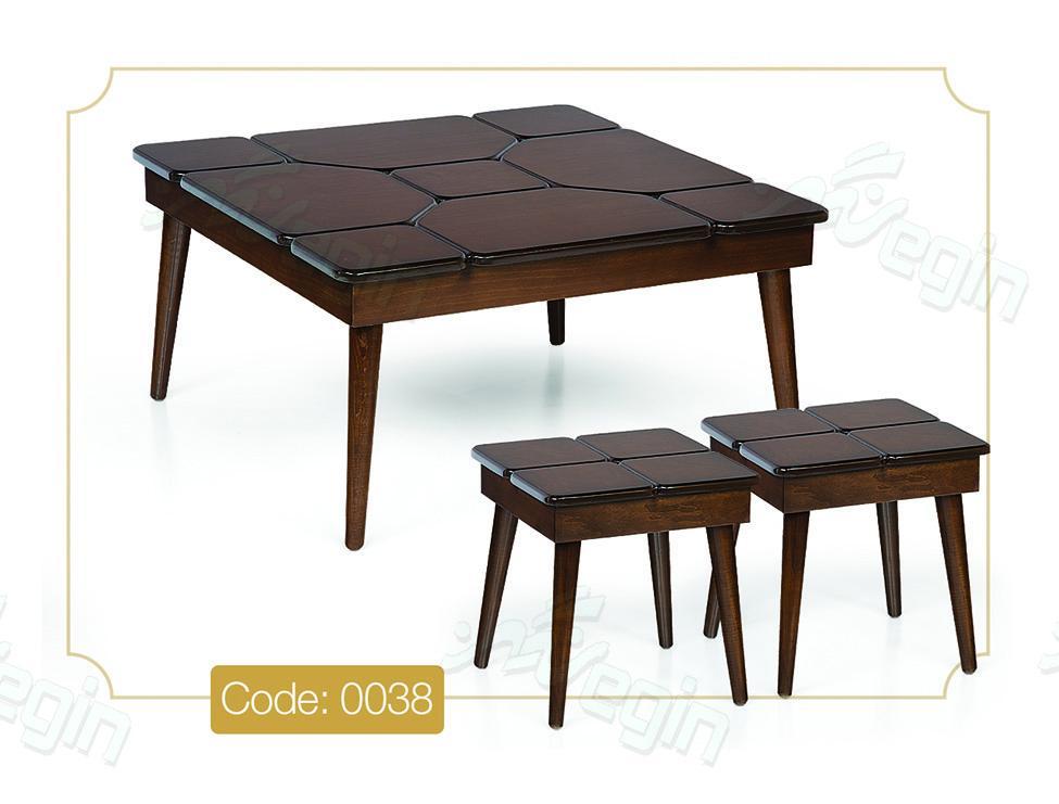 جلو مبلی و عسلی پازل مربعی مدل 0038 صفحه MDF پایه چوب