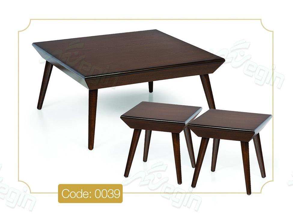 جلو مبلی و عسلی باکو مربع مدل 0039 صفحه MDF پایه چوب