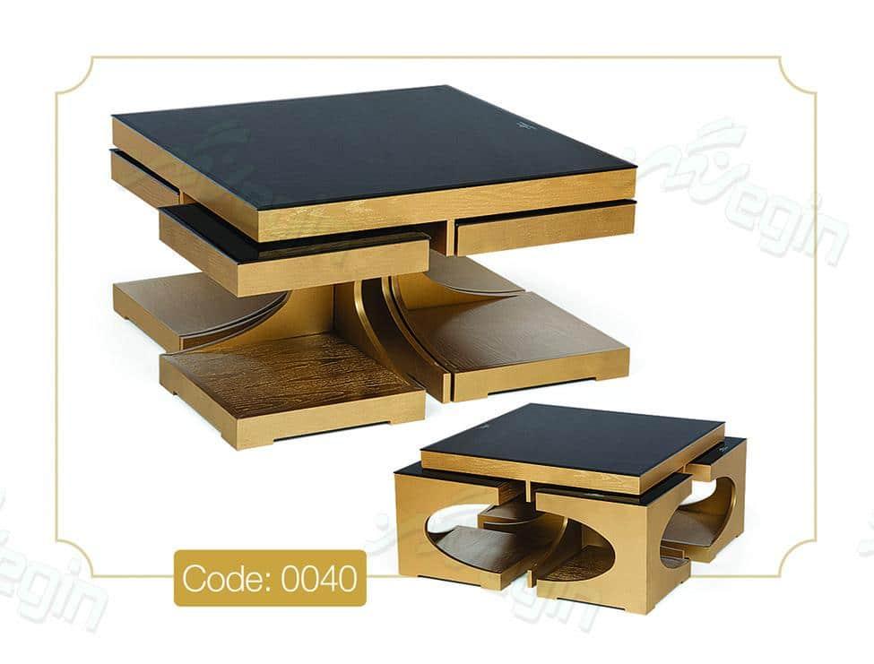 جلو مبلی و عسلی رویا طلایی مدل 0040 ام دی اف صفحه شیشه ای