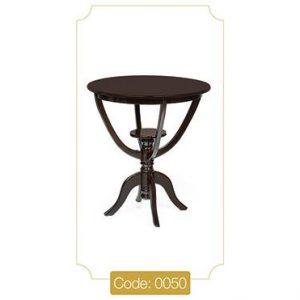 میز خاطره گرد قهوهای مدل 0050 صفحه ام دی اف پایه چوب