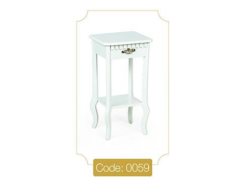 میز گرامافون کوچک سفید مدل 0059 صفحه ام دی اف پایه چوب