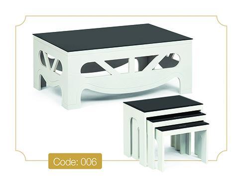 میز عسلی شقایق کد 006 ام دی اف صفحه شیشه سکوریت