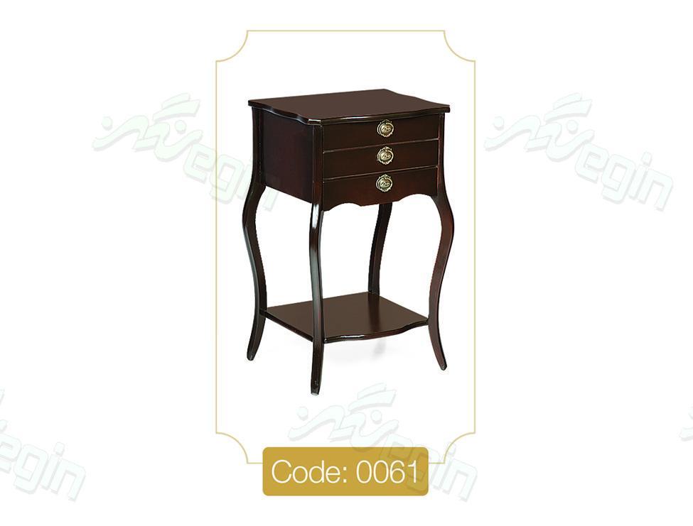 میز تلفن سه کشو مربع مدل 0061 صفحه MDF پایه چوب
