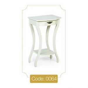 میز تلفن تک کشو سفید مدل 0064 صفحه ام دی اف پایه چوب
