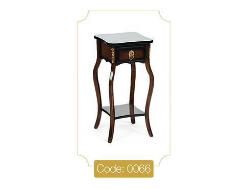 میز تلفن تک کشو مربع مدل 0066 صفحه ام دی اف پایه چوب