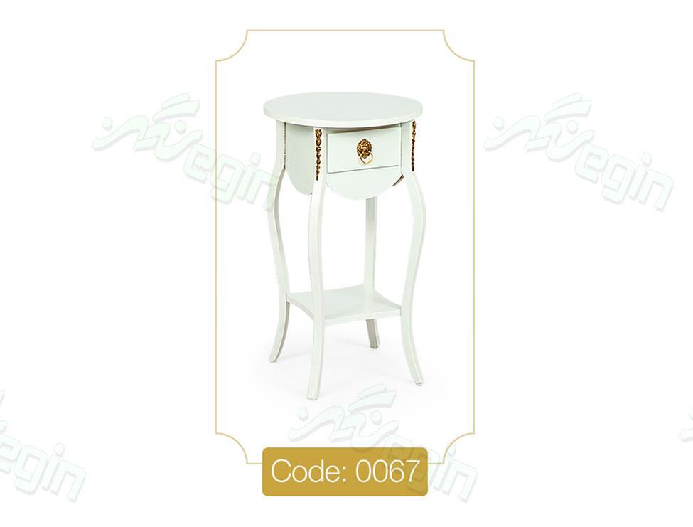 میز تلفن تک کشو گرد کوچک مدل 0067 صفحه MDF پایه چوب