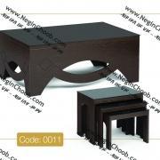 جلو مبلی و عسلی مدل 0011 نگین چوب MDF رنگی و صفحه شیشه سکوریت