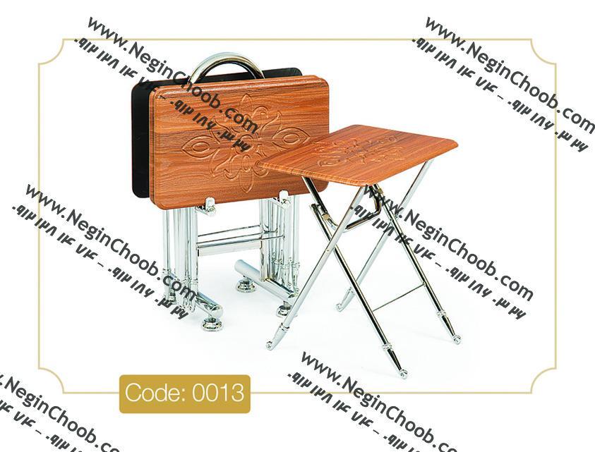 جلومبلی عسلی مدل 0013 نگین چوب صفحه MDF وکیوم پایه استیل