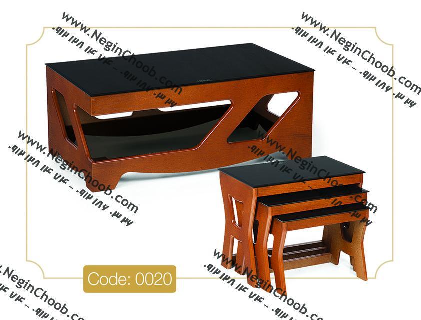جلو مبلی و عسلی پرستو مدل 0020 نگین چوب MDF رنگی و صفحه شیشه سکوریت