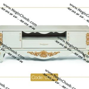 فروش میز تلویزیون کلاسیک سفید و طلایی ارزان قیمت