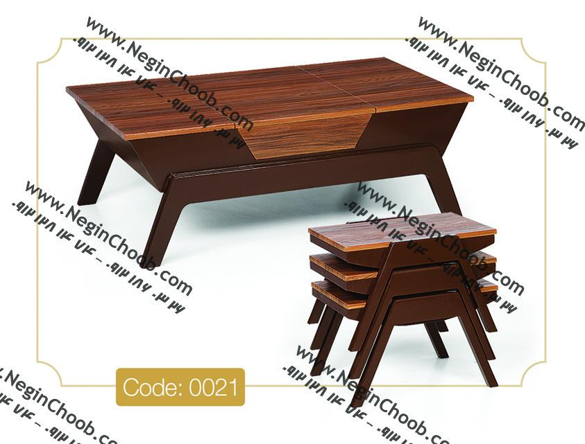 جلو مبلی و عسلی مدل 0021 نگین چوب صفحه MDF وکیوم پایه رنگی