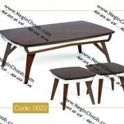 جلو مبلی و عسلی ونوس مدل 0022 نگین چوب صفحه MDF پایه چوب رنگی