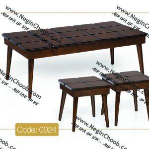 جلو مبلی و عسلی مدل 0024 نگین چوب صفحه MDF پایه چوب رنگی