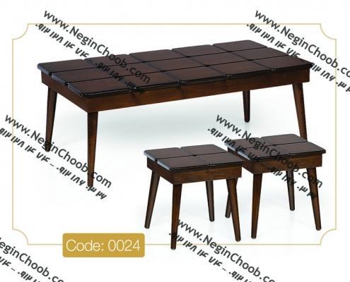 جلو مبلی و عسلی پازل مستطیلی مدل 0024 نگین چوب صفحه MDF پایه چوب رنگی