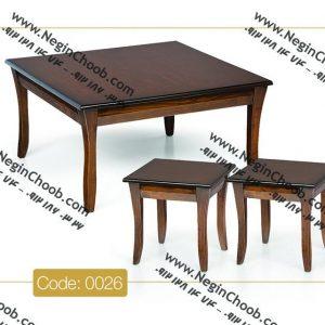 جلو مبلی و عسلی الماس مدل 0026 نگین چوب صفحه MDF پایه چوب رنگی