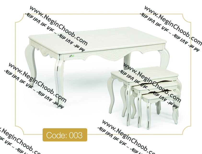 خرید میز جلو مبلی و عسلی سفید مدل ونیز نگین چوب