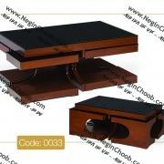 خرید میز جلو مبلی شیشه ای رویا مدل 0033 نگین چوب MDF رنگی و صفحه شیشه سکوریت