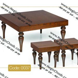 خرید میز جلو مبلی مربعی جدید پایه خراطی مدل 0037 نگین چوب صفحه MDF پایه چوب رنگی