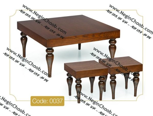خرید میز جلو مبلی جدید پایه خراطی مدل 0037 نگین چوب صفحه MDF پایه چوب رنگی