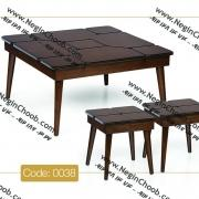 خرید میز جلو مبلی جدید مربعی پازلی مدل 0038 نگین چوب صفحه MDF پایه چوب رنگی