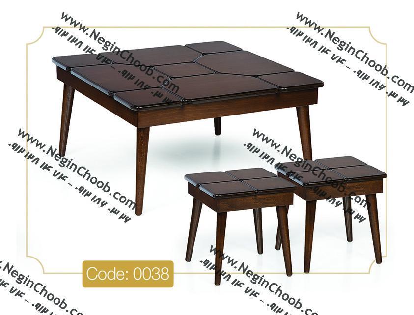 جلومبلی پازل مربعی مدل 0038 نگین چوب صفحه MDF پایه چوب رنگی
