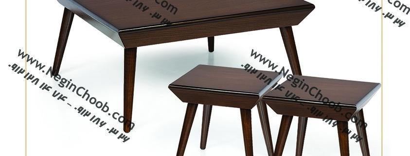 جلو مبلی و عسلی مدل 0039 نگین چوب صفحه MDF پایه چوب رنگی