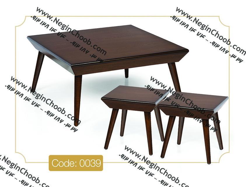 جلومبلی بارکو مربعی مدل 0039 نگین چوب صفحه MDF پایه چوب رنگی