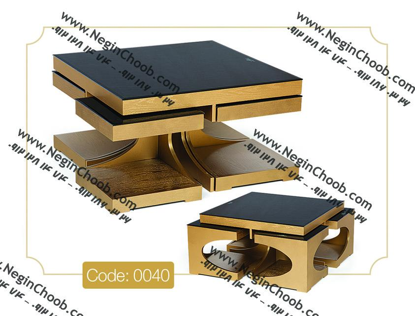 جلو مبلی و عسلی مدل 0040 نگین چوب MDF رنگی و صفحه شیشه سکوریت