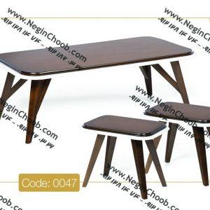 جلو مبلی و عسلی مدل 0047 نگین چوب صفحه MDF پایه چوب رنگی