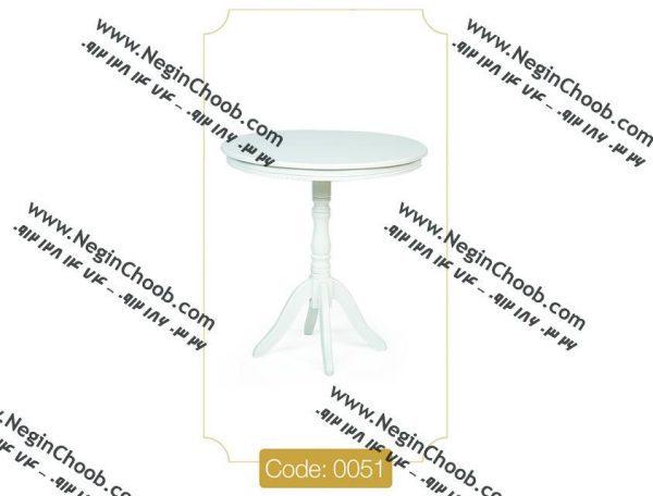 میز خاطره گرد سفید مدل 0051 نگین چوب صفحه MDF پایه چوب تمام رنگی