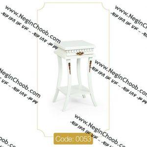 میز گرام مربع سفید مدل 0053 نگین چوب صفحه MDF پایه چوب رنگی