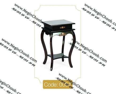 میز گرام قهوه ای مدل 0054 نگین چوب صفحه MDF پایه چوب تمام رنگی
