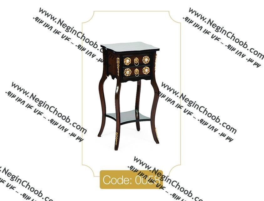 میز تلفن ارزان قیمت دو کشو طبقه دار مدل 0058 نگین چوب صفحه MDF پایه چوب تمام رنگی