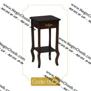 میز گرام کوچک قهوهای مدل 0059 نگین چوب صفحه MDF پایه چوب تمام رنگی