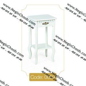 میز گرام کوچک سفید مدل 0059 نگین چوب صفحه MDF پایه چوب تمام رنگی