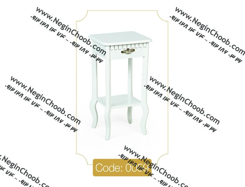 میز تلفن و گرام کوچک سفید صفحه MDF پایه چوب تمام رنگی