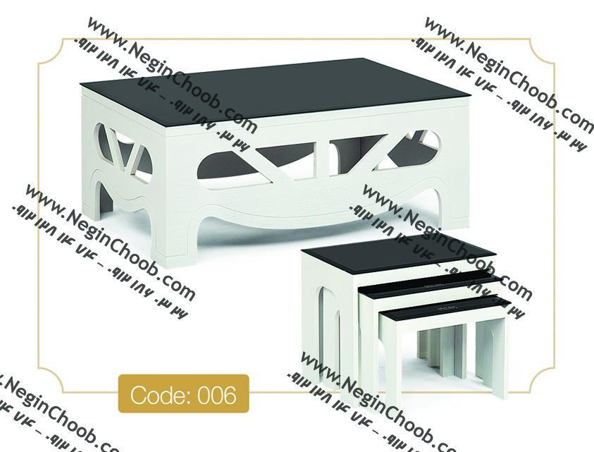 جلو مبلی و عسلی مدل 006 نگین چوب MDF رنگی و صفحه شیشه سکوریت