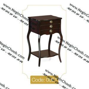 میز تلفن سه کشو مربع مدل 0061 نگین چوب صفحه MDF پایه چوب تمام رنگی